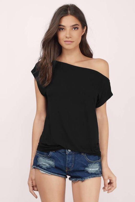 Женская футболка на одно плечо фото